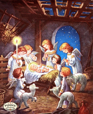 Pdxc10101 -- Christmas Manger Wise Men Virgin Mary Color Illustration
