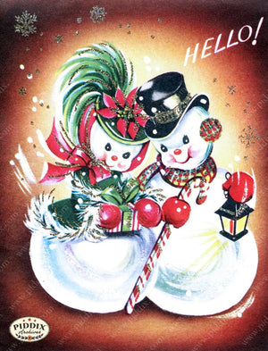 Pdxc10104A -- Snowmen Women Color Illustration