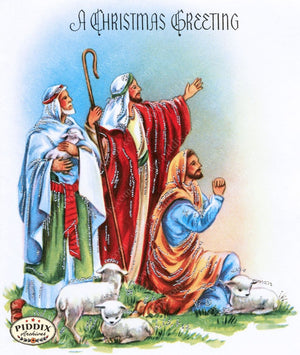 Pdxc10120A -- Christmas Manger Wise Men Virgin Mary Color Illustration