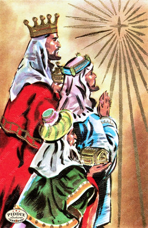 Pdxc10135 -- Christmas Manger Wise Men Virgin Mary Color Illustration