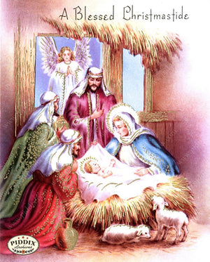 Pdxc10136 -- Christmas Manger Wise Men Virgin Mary Color Illustration