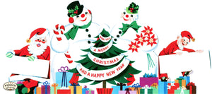 Pdxc10183 -- Santa Claus And Snowmen Color Illustration