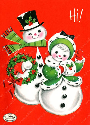 Pdxc18977A -- Snowmen Women Color Illustration