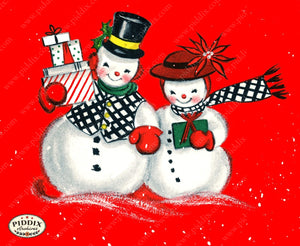 PDXC19153a -- Snowmen women Color Illustration