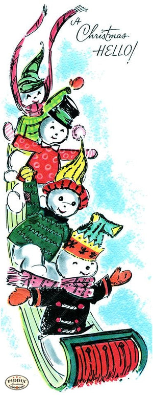 PDXC19156a -- Snowmen women Color Illustration