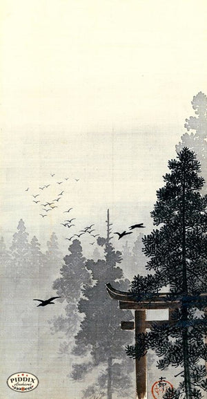 PDXC19511 -- Japanese Birds and Trees Woodblock