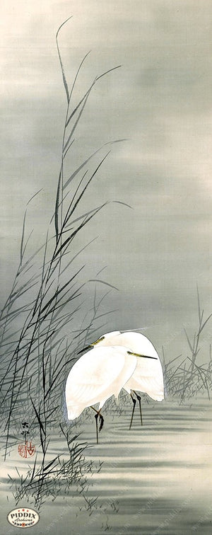 PDXC19513 -- Japanese Egrets Woodblock
