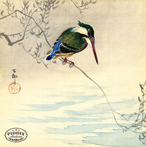 PDXC19517 -- Japanese Bird and Leaves Woodblock