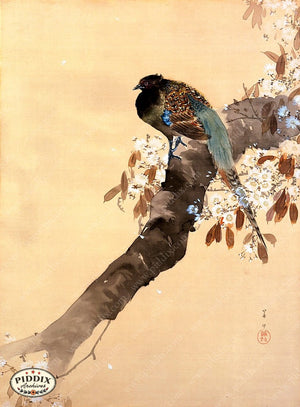 PDXC19518 -- Japanese Bird and Leaves Woodblock