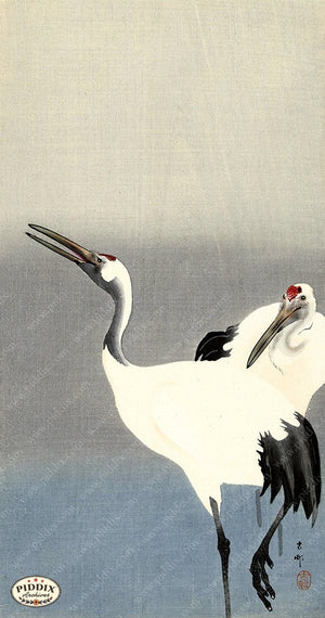 PDXC19526 -- Japanese Cranes Woodblock