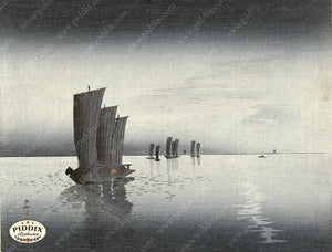 PDXC19527 -- Japanese Boats Woodblock
