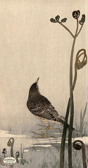 PDXC19530 -- Japanese Bird and Plants Woodblock