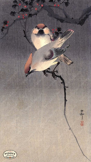 PDXC19531 -- Japanese Birds and Leaves Woodblock