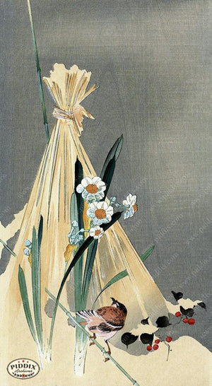 PDXC19534 -- Japanese Bird and Flowers Woodblock