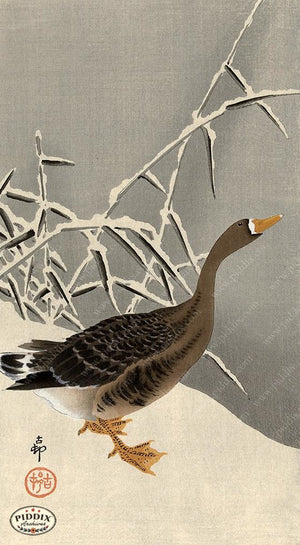 PDXC19539-- Japanese Bird and Snow Woodblock