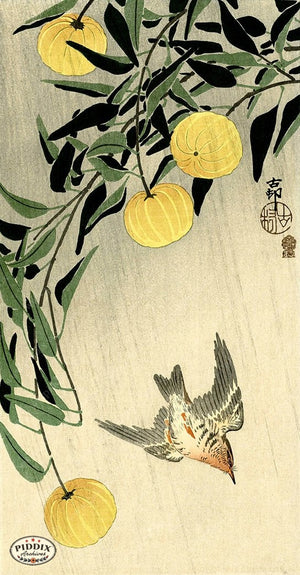 PDXC19540 -- Japanese Bird and Flowers Woodblock