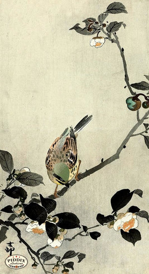 PDXC19542 -- Japanese Bird and Flowers Woodblock