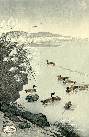 PDXC19543-- Japanese Ducks and Grass Woodblock