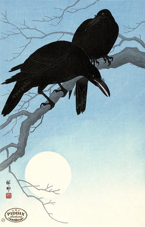 PDXC19548-- Japanese Ravens and Moon Woodblock