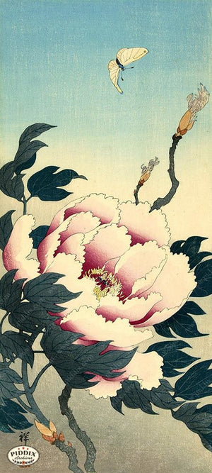 PDXC19553 -- Japanese Butterfly and Flower Woodblock