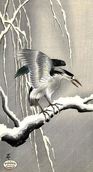 PDXC19556-- Japanese Bird and Snow Woodblock