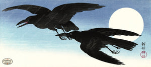 PDXC19558-- Japanese Ravens and Moon Woodblock