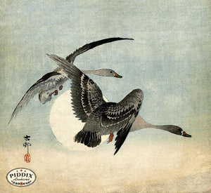 PDXC19565-- Japanese Geese and Moon Woodblock