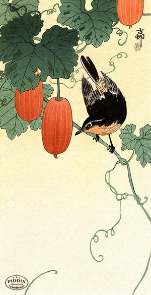 PDXC19566 -- Japanese Bird and Flowers Woodblock