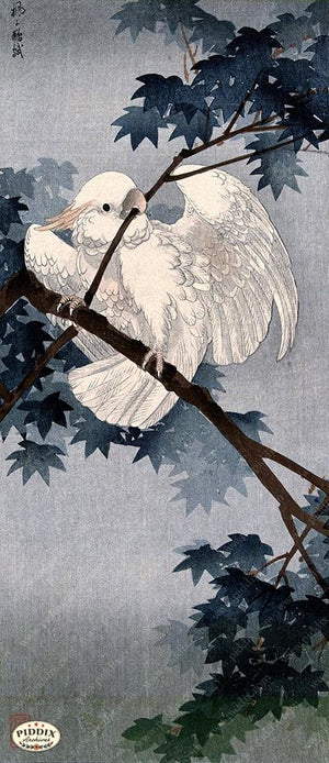 PDXC19569-- Japanese Bird and Leaves Woodblock