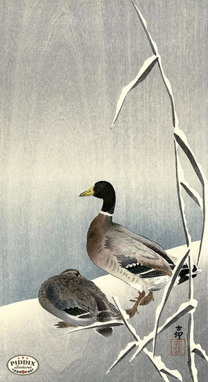 PDXC19570-- Japanese Ducks and Snow Woodblock