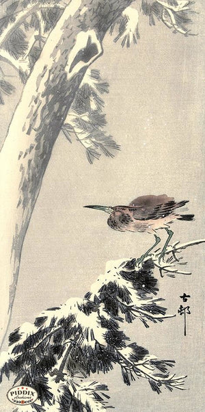 PDXC19573-- Japanese Bird and Snow Woodblock