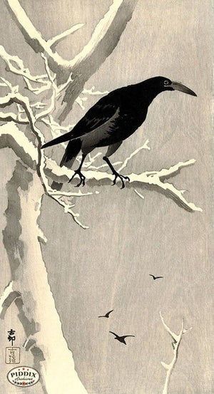 PDXC19574-- Japanese Raven and Snow Woodblock