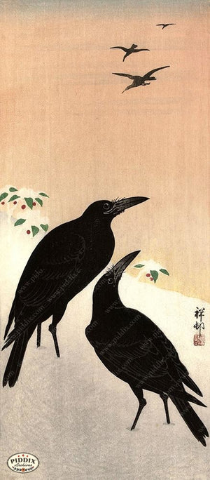 PDXC19576 -- Japanese Ravens in Snow Woodblock