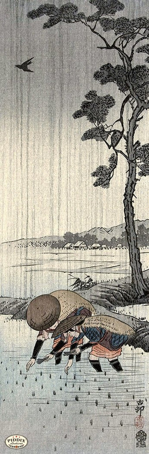 PDXC19579-- Japanese Tree and Water Woodblock