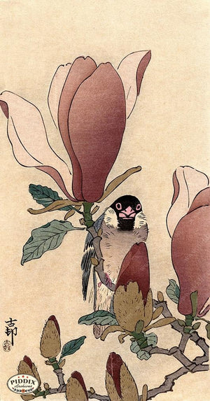 PDXC19585-- Japanese Bird and Flowers Woodblock