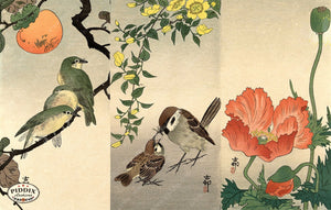 PDXC19588 -- Japanese Birds and Flowers Woodblock