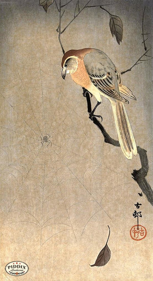 PDXC19590 -- Japanese Bird and Leaves Woodblock