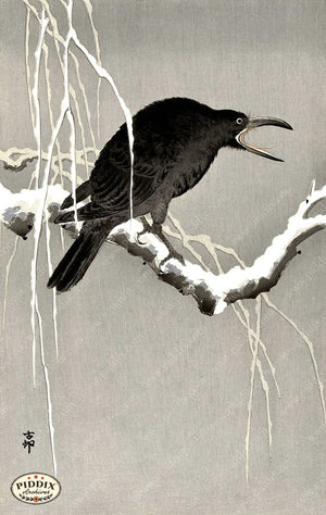 PDXC19594 -- Japanese Raven and Snow Woodblock