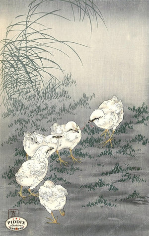 PDXC19597 -- Japanese Birds and Grass Woodblock