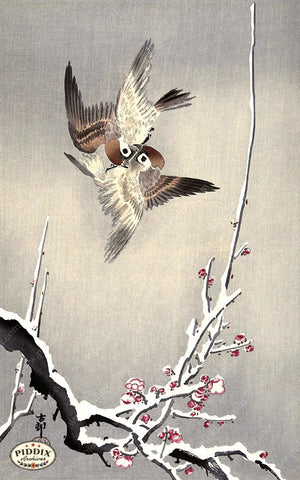 PDXC19598 -- Japanese Birds and Snow Woodblock