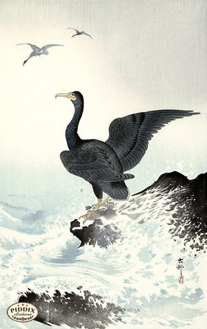 PDXC19599 -- Japanese Birds and Waves Woodblock