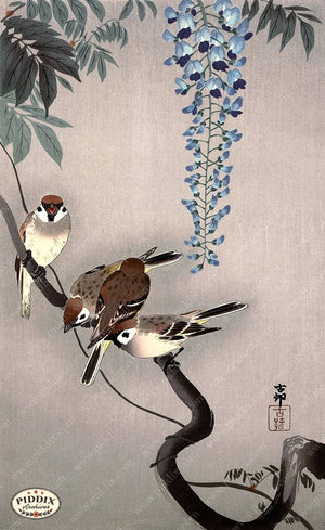 PDXC19601 -- Japanese Birds and Flowers Woodblock