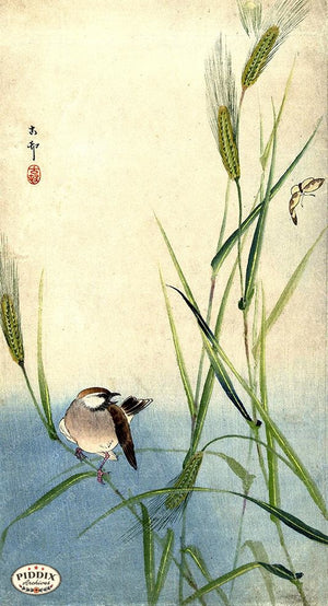 PDXC19602 -- Japanese Bird and Grass Woodblock