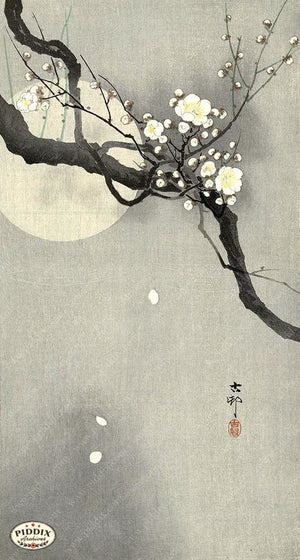 PDXC19603 -- Japanese Flowers and Moon Woodblock