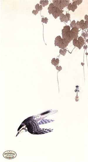 PDXC19608 -- Japanese Bird and Leaves Woodblock