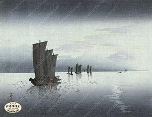 PDXC19609 -- Japanese Boats Woodblock