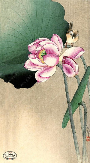 PDXC19614 -- Japanese Bird and Lotus Flower Woodblock