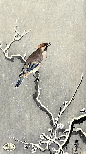 PDXC19615 -- Japanese Bird and Snow Woodblock