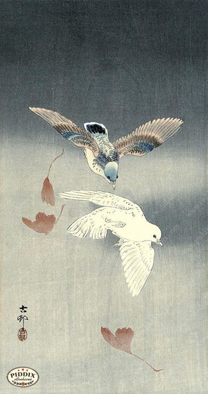 PDXC19618 -- Japanese Birds and Leaves Woodblock