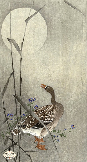 PDXC19621 -- Japanese Goose and Moon Woodblock